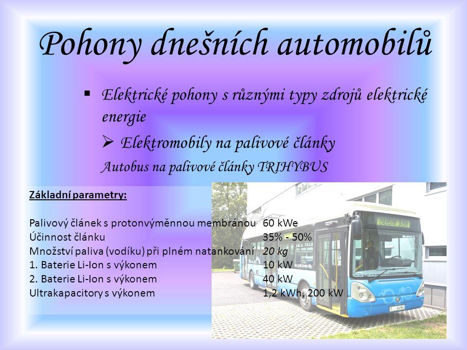 Pohony dnešních automobilů  Elektrické pohony s různými typy zdrojů elektrické energie  Elektromobily na palivové články Autobus na palivové články