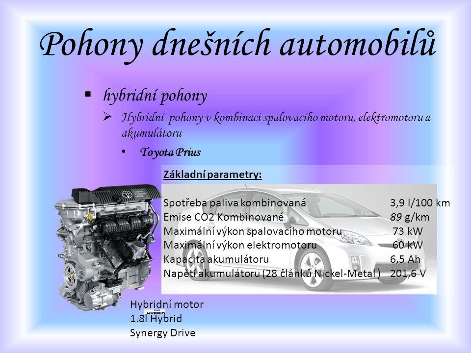 Pohony dnešních automobilů  hybridní pohony  Hybridní pohony v kombinaci spalovacího motoru, elektromotoru a akumulátoru Toyota Prius Hybridní motor