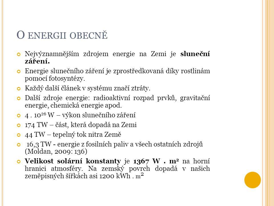 O ENERGII OBECNĚ Nejvýznamnějším zdrojem energie na Zemi je sluneční záření. Energie slunečního záření je zprostředkovaná díky rostlinám pomocí fotosy