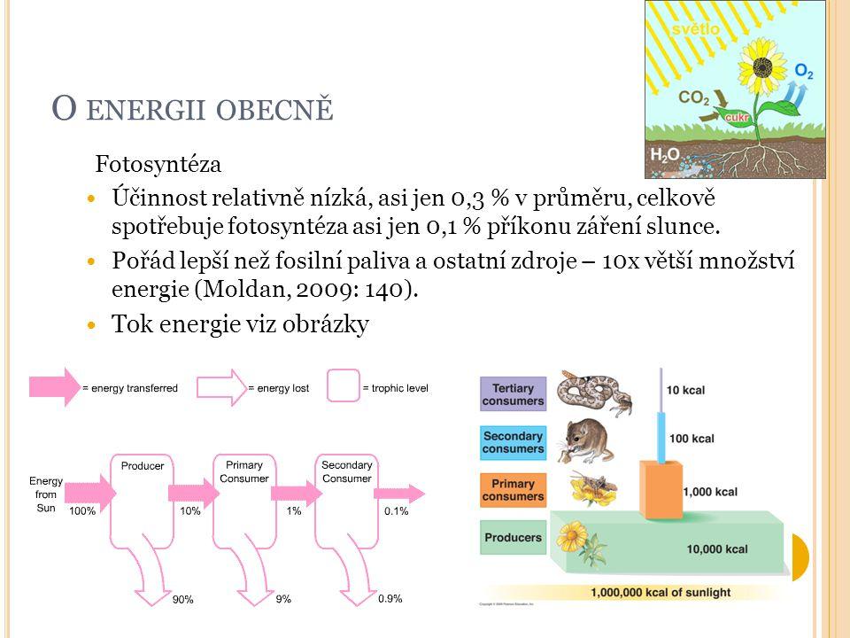 O ENERGII OBECNĚ Fotosyntéza Účinnost relativně nízká, asi jen 0,3 % v průměru, celkově spotřebuje fotosyntéza asi jen 0,1 % příkonu záření slunce. Po