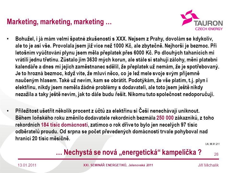 Jiří Michalik Marketing, marketing, marketing … Bohužel, i já mám velmi špatné zkušenosti s XXX. Nejsem z Prahy, dovolám se kdykoliv, ale to je asi vš