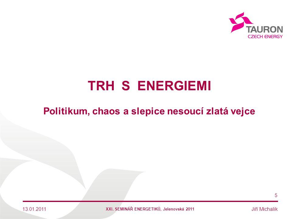 Jiří Michalik TRH S ENERGIEMI 13.01.2011 5 Politikum, chaos a slepice nesoucí zlatá vejce XXI. SEMINÁŘ ENERGETIKŮ, Jelenovská 2011