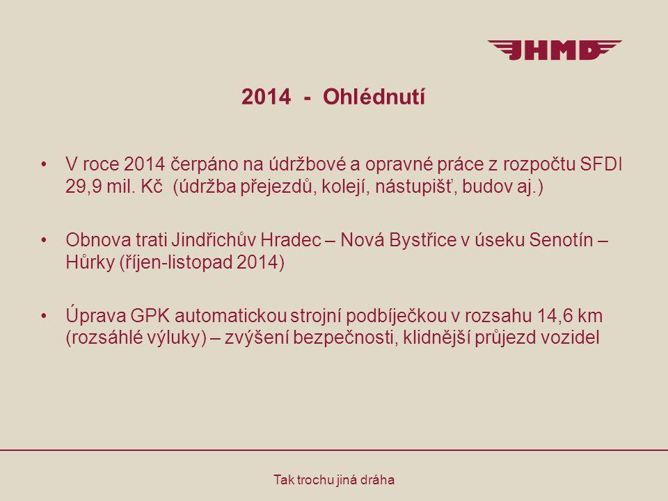 2014 - Ohlédnutí Tak trochu jiná dráha V roce 2014 čerpáno na údržbové a opravné práce z rozpočtu SFDI 29,9 mil. Kč (údržba přejezdů, kolejí, nástupiš