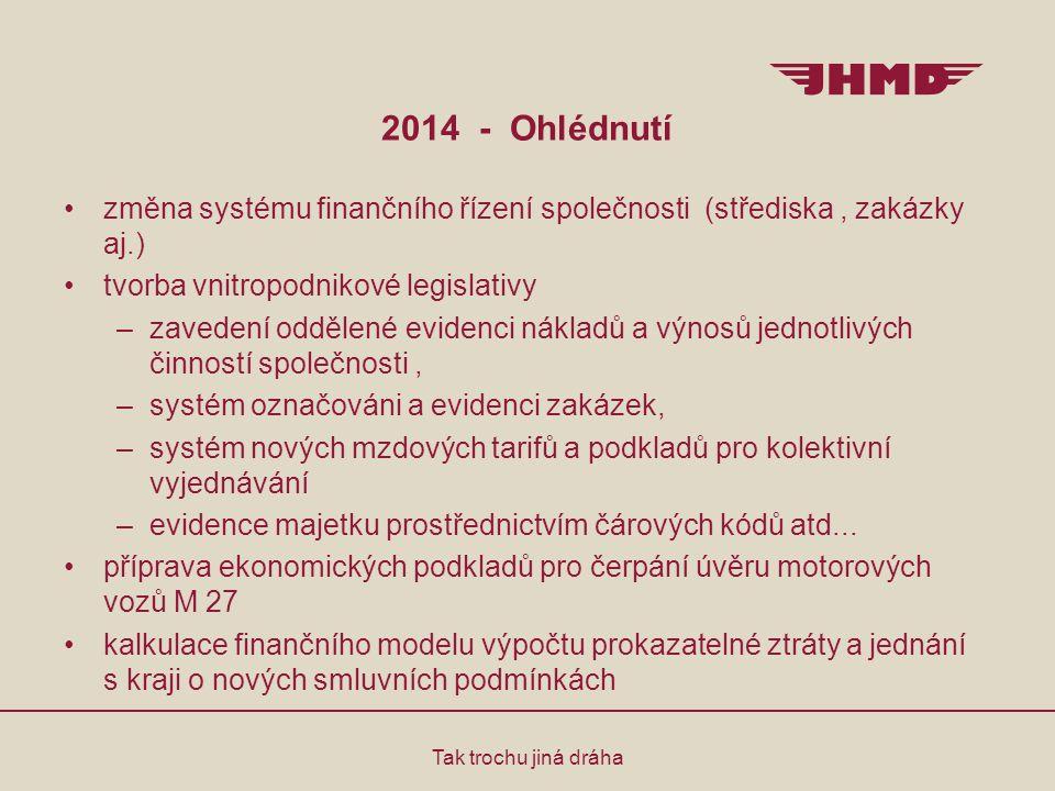 2014 - Ohlédnutí Tak trochu jiná dráha změna systému finančního řízení společnosti (střediska, zakázky aj.) tvorba vnitropodnikové legislativy –zavede