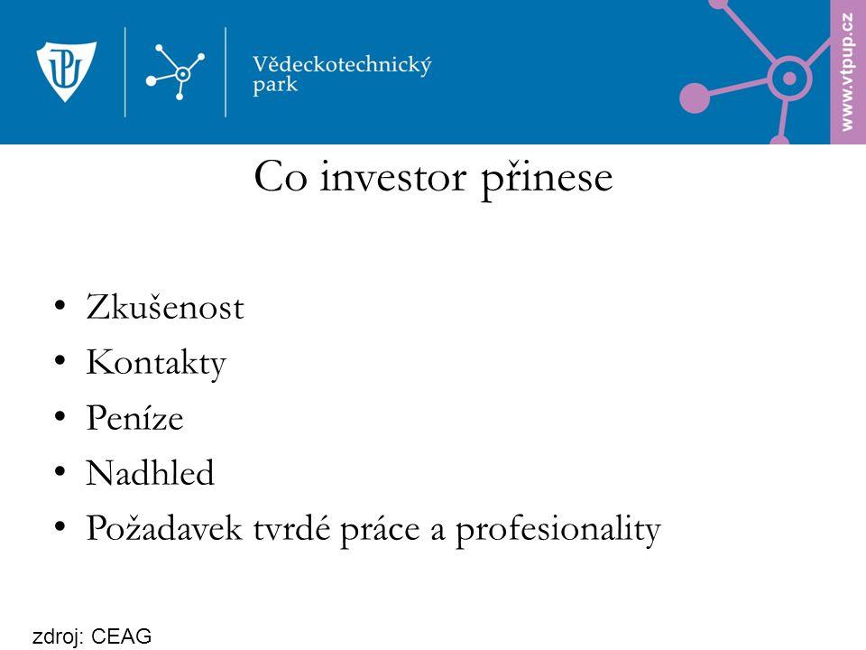 Zkušenost Kontakty Peníze Nadhled Požadavek tvrdé práce a profesionality Co investor přinese zdroj: CEAG