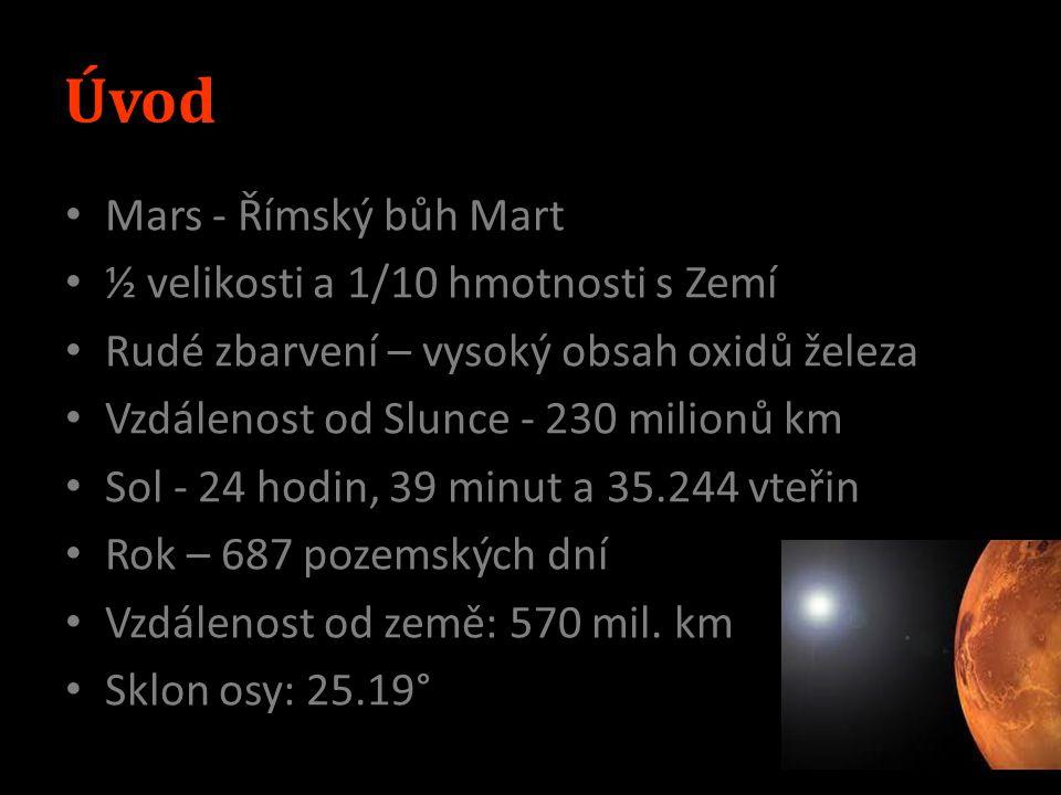 Curiosity 899 kg 10 přístrojů Videokamera Rychlost 20 m/s Plánovaná délka mise: 98 týdnů Přistane v srpnu