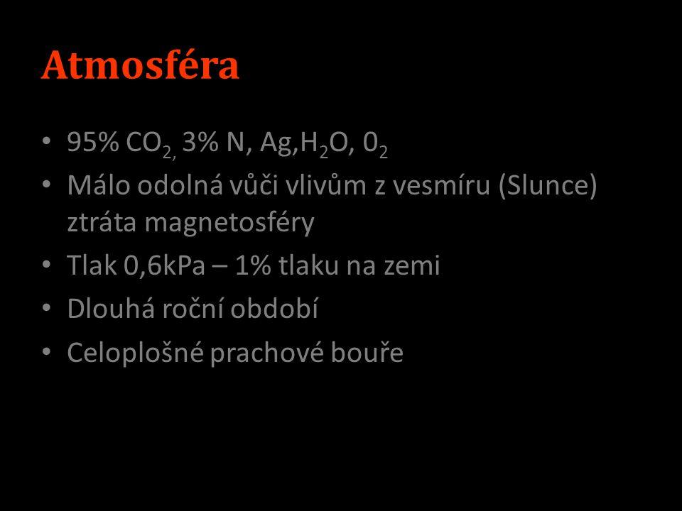 Povrch S polokoule – lávové planiny J polokoule – vrchoviny (Olympus Mons 26km) 43 tis.