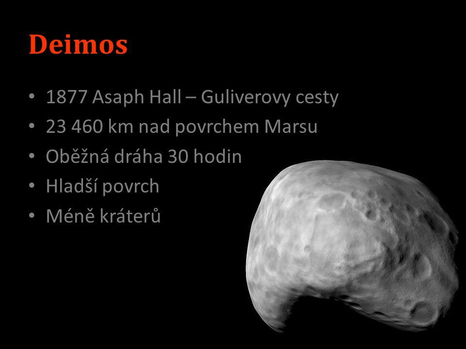 Phobos 9380 km nad povrchem Marsu Oběh kolem Marsu – 7h 30min Povrch silně zvrásněn, krátery, Stickney Ruská sonda 40 snímků - 200km