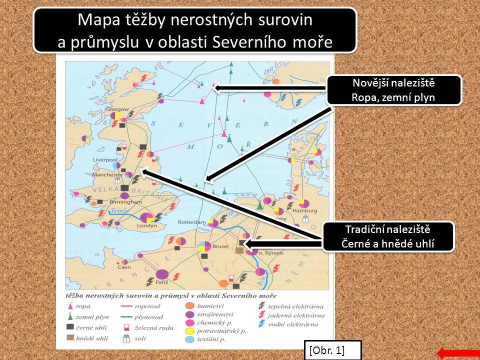 Mapa těžby nerostných surovin a průmyslu v oblasti Severního moře Mapa těžby nerostných surovin a průmyslu v oblasti Severního moře Novější naleziště