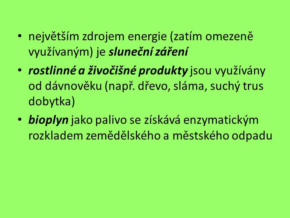 největším zdrojem energie (zatím omezeně využívaným) je sluneční záření rostlinné a živočišné produkty jsou využívány od dávnověku (např. dřevo, sláma