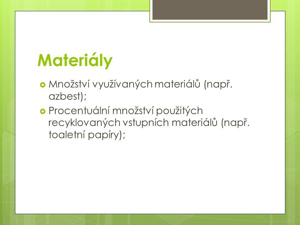 Materiály  Množství využívaných materiálů (např. azbest);  Procentuální množství použitých recyklovaných vstupních materiálů (např. toaletní papíry)