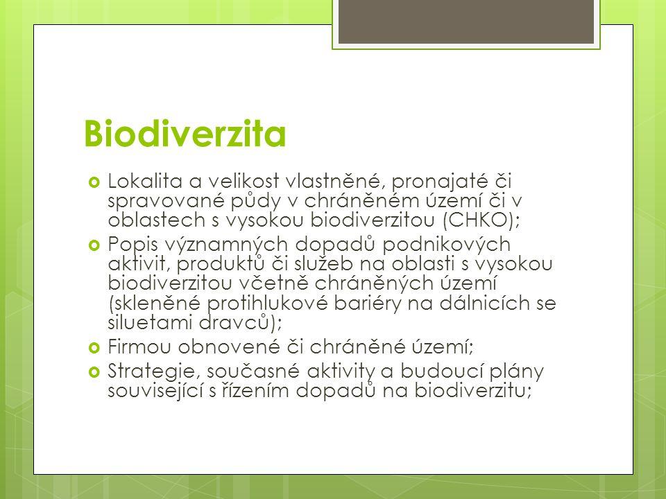 Biodiverzita  Lokalita a velikost vlastněné, pronajaté či spravované půdy v chráněném území či v oblastech s vysokou biodiverzitou (CHKO);  Popis vý