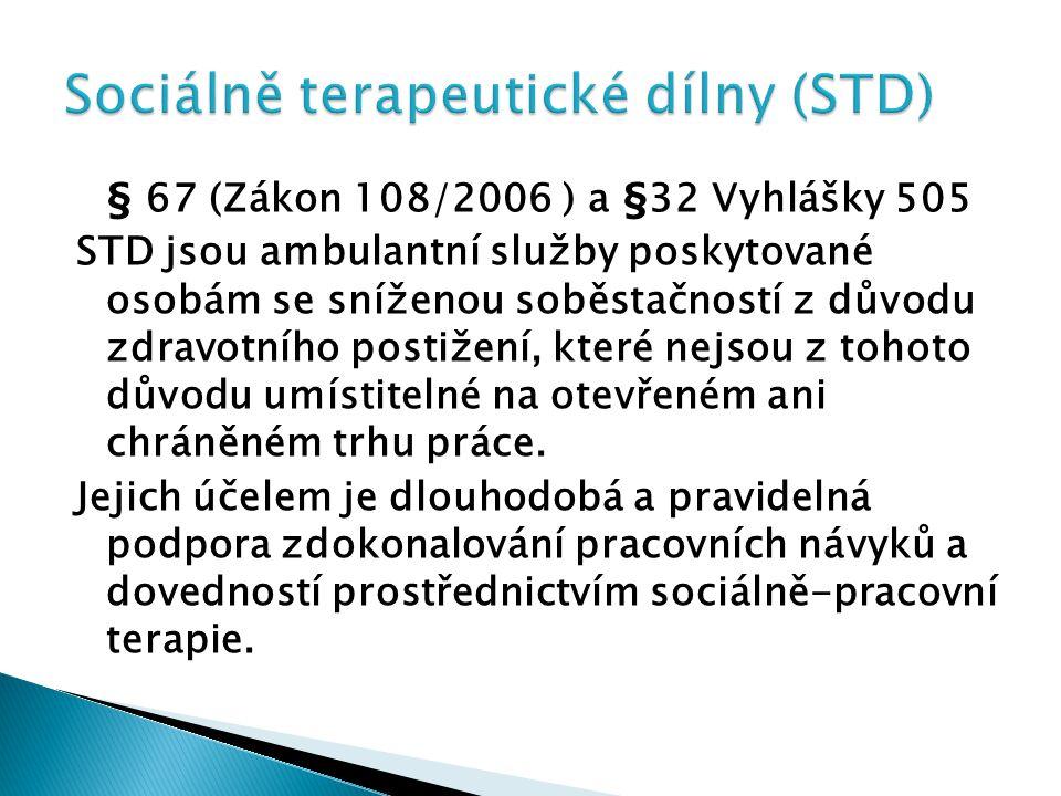 § 67 (Zákon 108/2006 ) a §32 Vyhlášky 505 STD jsou ambulantní služby poskytované osobám se sníženou soběstačností z důvodu zdravotního postižení, kter