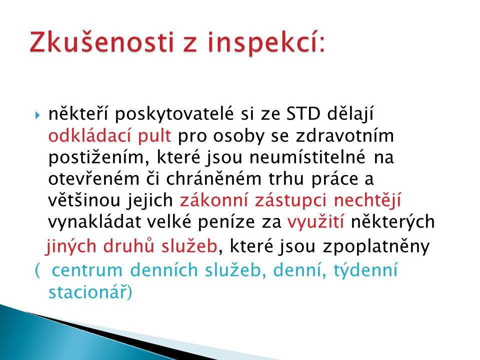  někteří poskytovatelé si ze STD dělají odkládací pult pro osoby se zdravotním postižením, které jsou neumístitelné na otevřeném či chráněném trhu pr