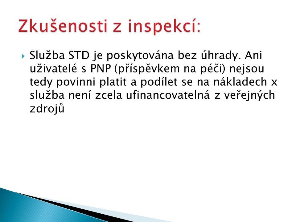  Služba STD je poskytována bez úhrady. Ani uživatelé s PNP (příspěvkem na péči) nejsou tedy povinni platit a podílet se na nákladech x služba není zc