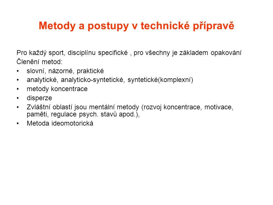 Metody a postupy v technické přípravě Pro každý sport, disciplínu specifické, pro všechny je základem opakování Členění metod: slovní, názorné, prakti