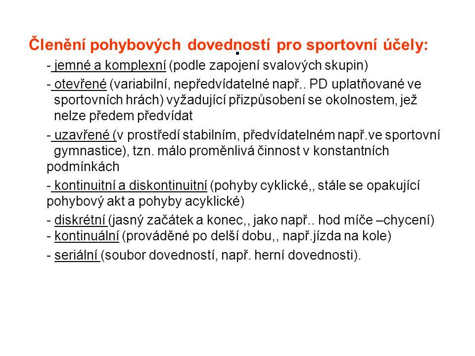 . Členění pohybových dovedností pro sportovní účely: - jemné a komplexní (podle zapojení svalových skupin) - otevřené (variabilní, nepředvídatelné nap