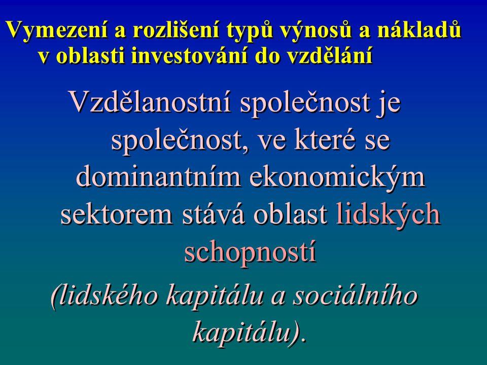 Vymezení a rozlišení typů výnosů a nákladů v oblasti investování do vzdělání Vzdělanostní společnost je společnost, ve které se dominantním ekonomický