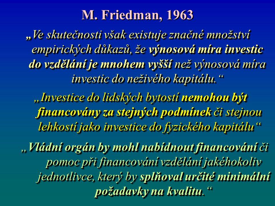 """M. Friedman, 1963 """" Ve skutečnosti však existuje značné množství empirických důkazů, že výnosová míra investic do vzdělání je mnohem vyšší než výnosov"""