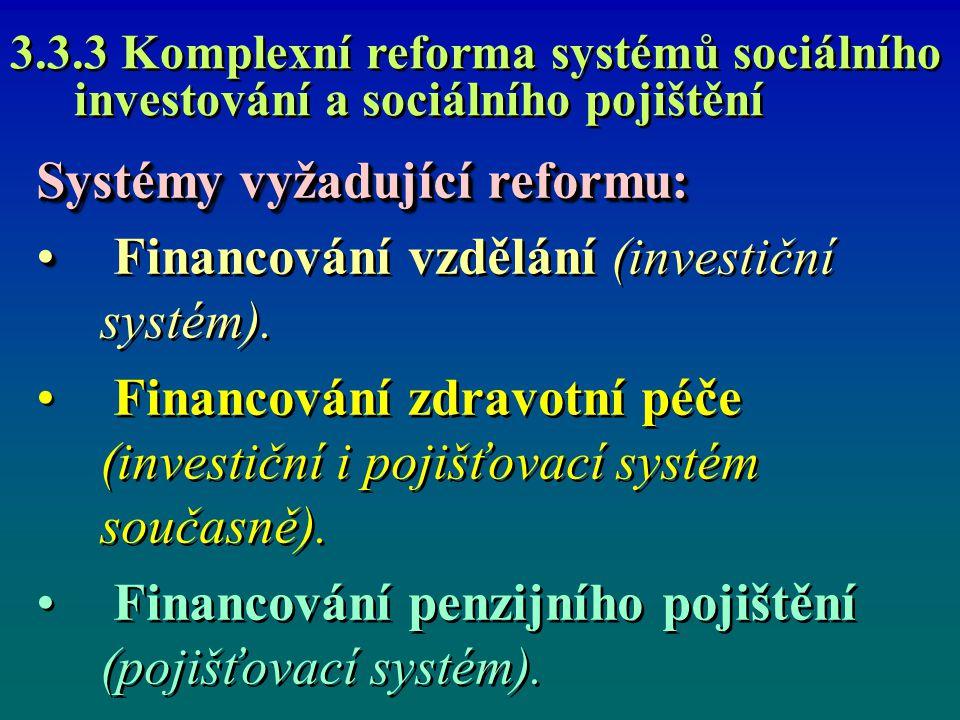 3.3.3 Komplexní reforma systémů sociálního investování a sociálního pojištění Systémy vyžadující reformu: Financování vzdělání (investiční systém). Fi