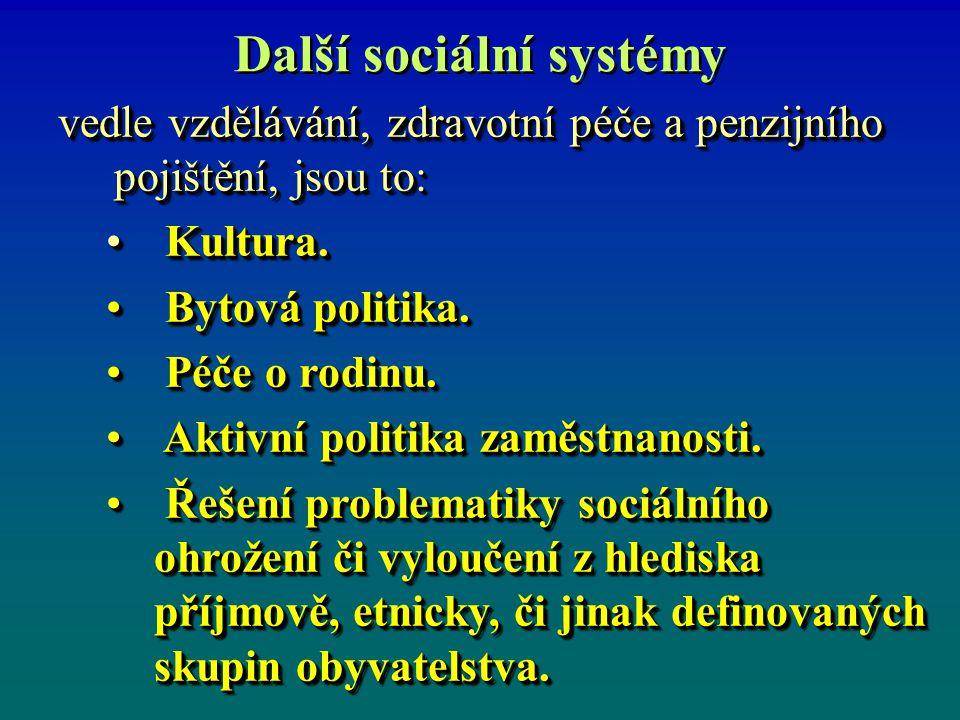 Další sociální systémy vedle vzdělávání, zdravotní péče a penzijního pojištění, jsou to: Kultura. Kultura. Bytová politika. Bytová politika. Péče o ro