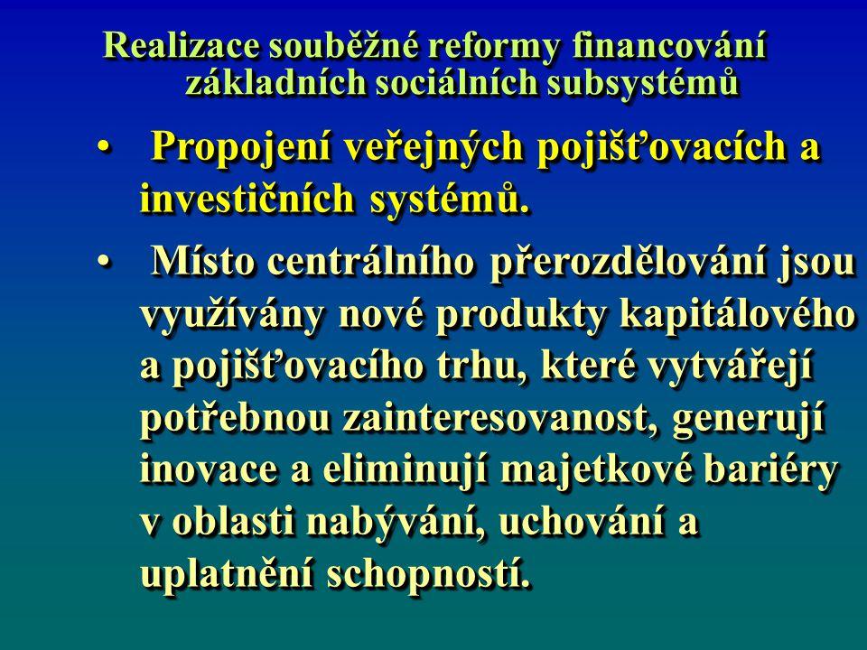 Realizace souběžné reformy financování základních sociálních subsystémů Propojení veřejných pojišťovacích a investičních systémů. Propojení veřejných