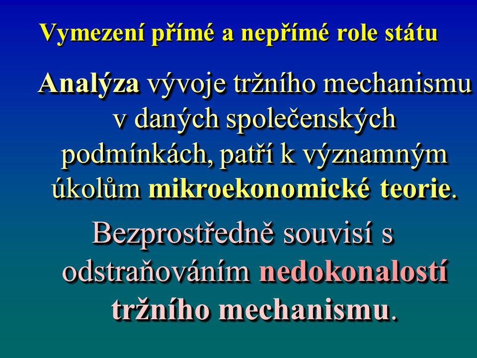Vymezení přímé a nepřímé role státu Mikroekonomické role státu jsou: Přímá, která spočívá v nahrazení role tržního mechanismu funkcí státu (alokací, redistribucí, regulací).
