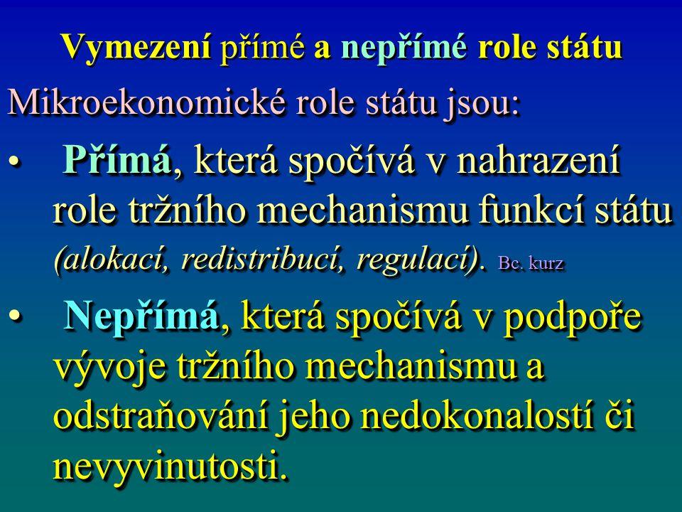 Vymezení přímé a nepřímé role státu Mikroekonomické role státu jsou: Přímá, která spočívá v nahrazení role tržního mechanismu funkcí státu (alokací, r