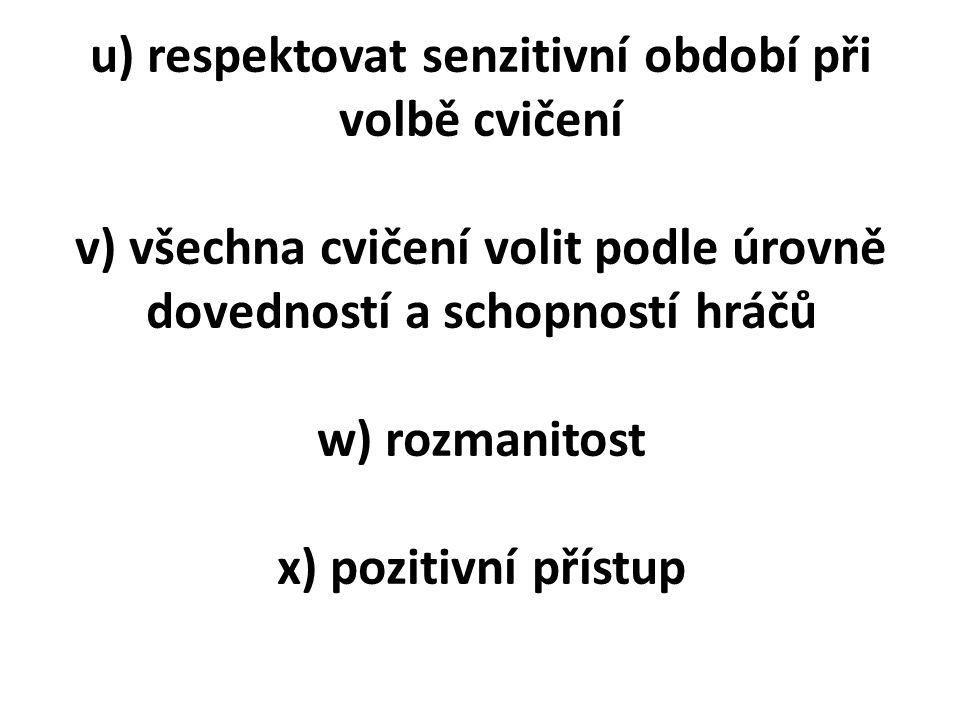u) respektovat senzitivní období při volbě cvičení v) všechna cvičení volit podle úrovně dovedností a schopností hráčů w) rozmanitost x) pozitivní přístup