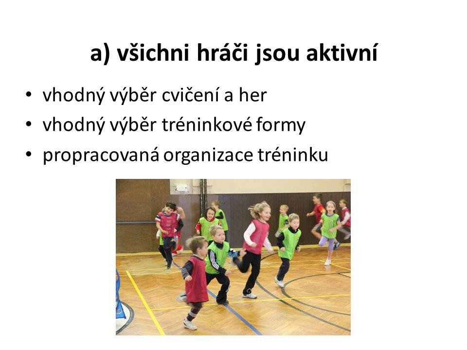 a) všichni hráči jsou aktivní vhodný výběr cvičení a her vhodný výběr tréninkové formy propracovaná organizace tréninku