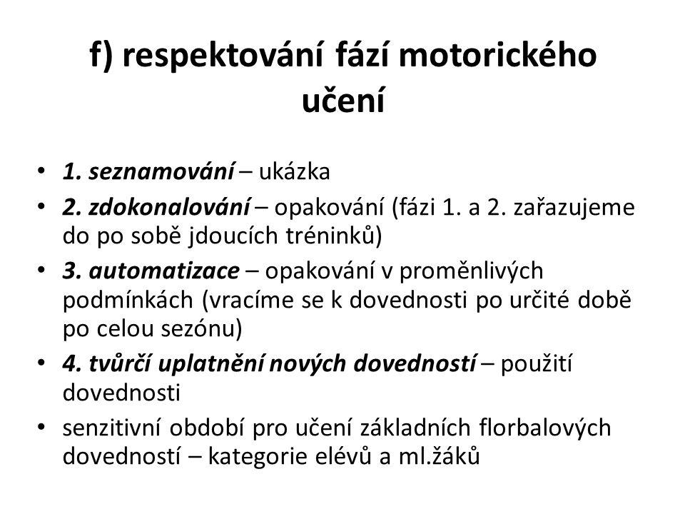 """g) ukázka techniky / """"přehánění ukázek do mezních pohybů 1.fáze motorického pohybu názorné předvedení pohybu volba instrukcí (využití analogie) provedení pohybem"""