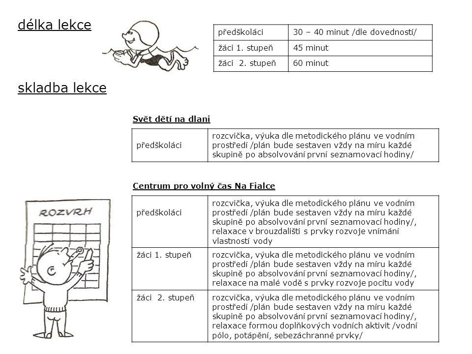 délka lekce předškoláci30 – 40 minut /dle dovedností/ žáci 1.