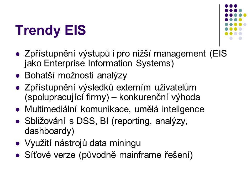 Trendy EIS Zpřístupnění výstupů i pro nižší management (EIS jako Enterprise Information Systems) Bohatší možnosti analýzy Zpřístupnění výsledků externím uživatelům (spolupracující firmy) – konkurenční výhoda Multimediální komunikace, umělá inteligence Sbližování s DSS, BI (reporting, analýzy, dashboardy) Využití nástrojů data miningu Síťové verze (původně mainframe řešení)