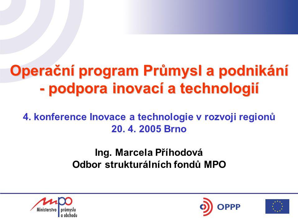 Operační program Průmysl a podnikání - podpora inovací a technologií 4.
