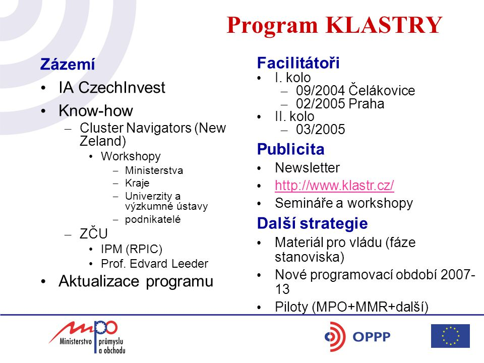 Program KLASTRY Zázemí IA CzechInvest Know-how – Cluster Navigators (New Zeland) Workshopy – Ministerstva – Kraje – Univerzity a výzkumné ústavy – pod