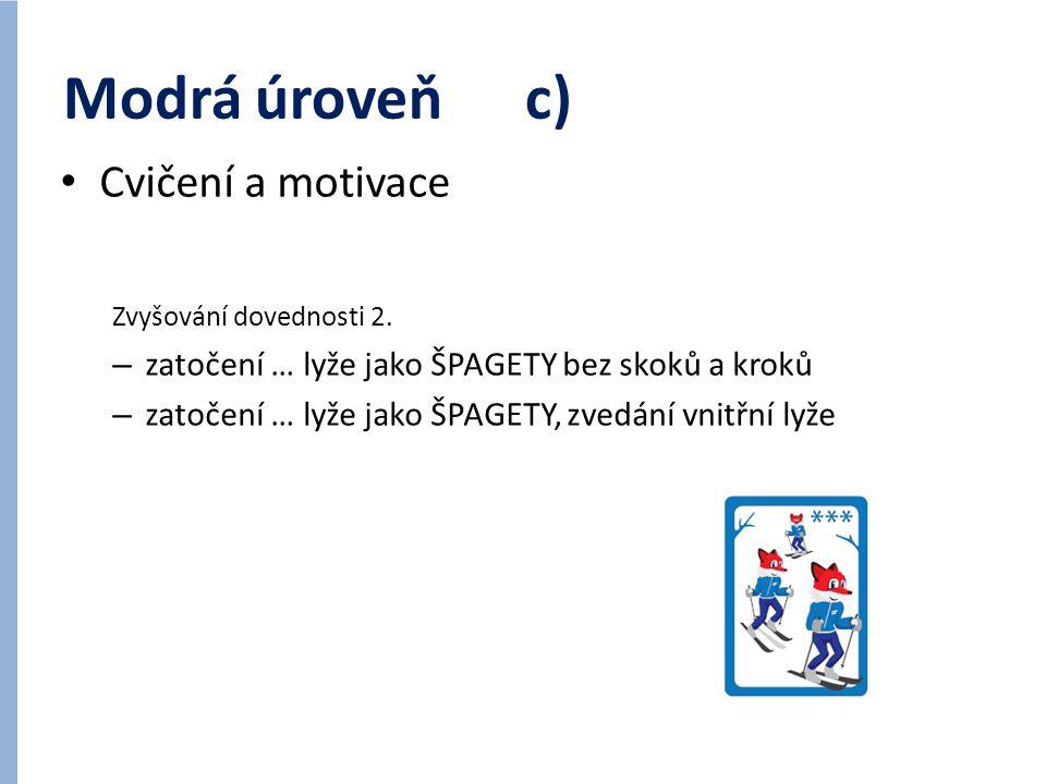 Modrá úroveň c) Cvičení a motivace Zvyšování dovednosti 2. – zatočení … lyže jako ŠPAGETY bez skoků a kroků – zatočení … lyže jako ŠPAGETY, zvedání vn