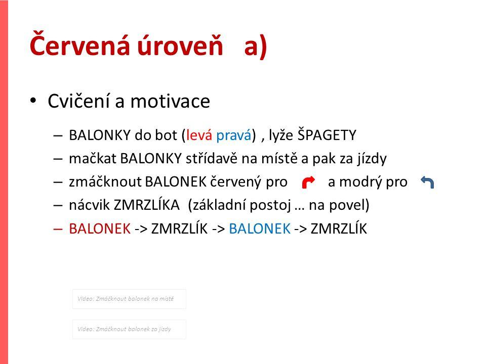Červená úroveň a) Cvičení a motivace – BALONKY do bot (levá pravá), lyže ŠPAGETY – mačkat BALONKY střídavě na místě a pak za jízdy – zmáčknout BALONEK