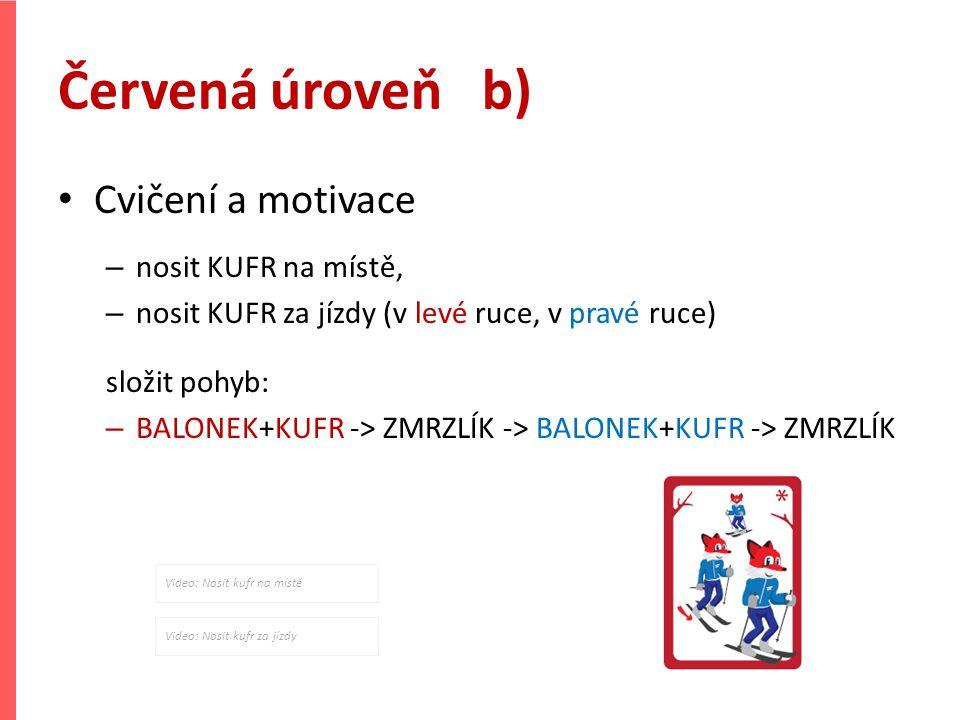 Červená úroveň b) Cvičení a motivace – nosit KUFR na místě, – nosit KUFR za jízdy (v levé ruce, v pravé ruce) složit pohyb: – BALONEK+KUFR -> ZMRZLÍK