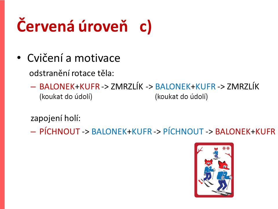Červená úroveň c) Cvičení a motivace odstranění rotace těla: – BALONEK+KUFR -> ZMRZLÍK -> BALONEK+KUFR -> ZMRZLÍK (koukat do údolí) (koukat do údolí)