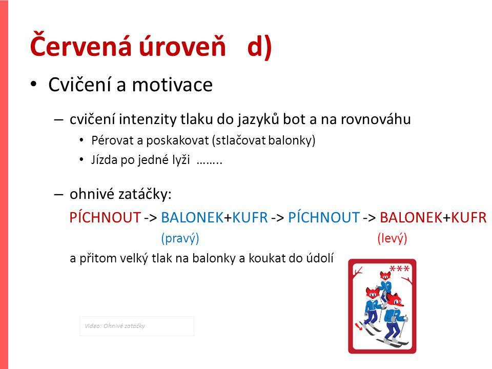 Červená úroveň d) Cvičení a motivace – cvičení intenzity tlaku do jazyků bot a na rovnováhu Pérovat a poskakovat (stlačovat balonky) Jízda po jedné ly