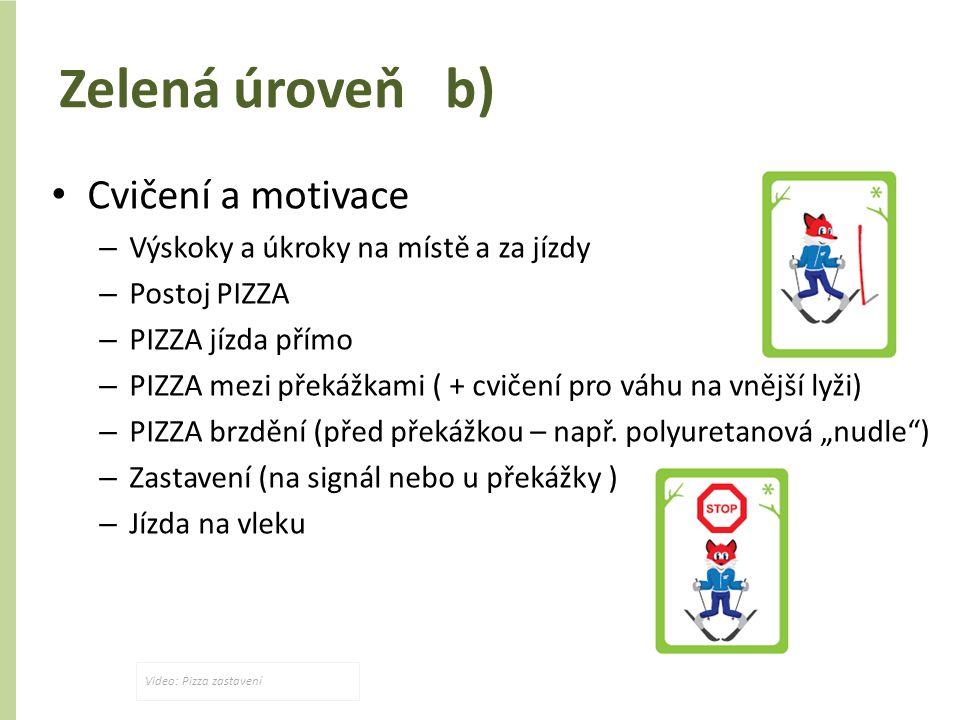 Zelená úroveň b) Cvičení a motivace – Výskoky a úkroky na místě a za jízdy – Postoj PIZZA – PIZZA jízda přímo – PIZZA mezi překážkami ( + cvičení pro