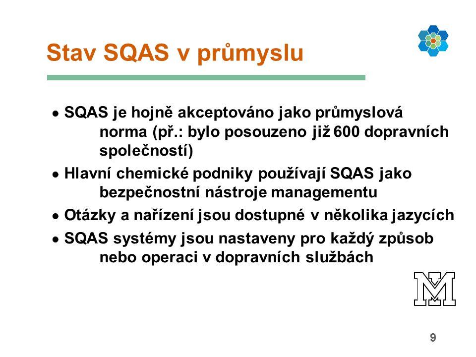 9 SQAS je hojně akceptováno jako průmyslová norma (př.: bylo posouzeno již 600 dopravních společností) Hlavní chemické podniky používají SQAS jako bezpečnostní nástroje managementu Otázky a nařízení jsou dostupné v několika jazycích SQAS systémy jsou nastaveny pro každý způsob nebo operaci v dopravních službách Stav SQAS v průmyslu