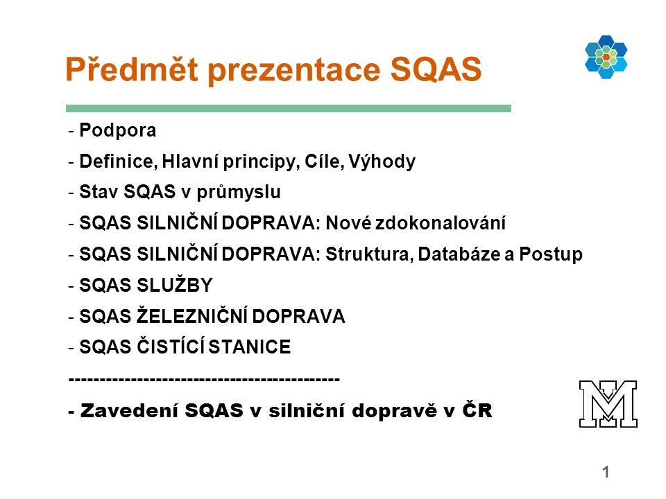 1 Předmět prezentace SQAS - Podpora - Definice, Hlavní principy, Cíle, Výhody - Stav SQAS v průmyslu - SQAS SILNIČNÍ DOPRAVA: Nové zdokonalování - SQA