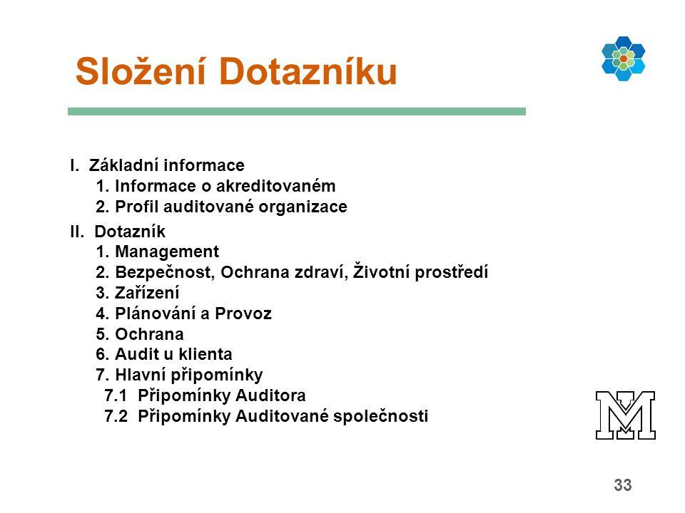 33 Složení Dotazníku I. Základní informace 1. Informace o akreditovaném 2. Profil auditované organizace II. Dotazník 1. Management 2. Bezpečnost, Ochr