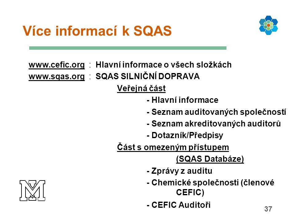 37 Více informací k SQAS www.cefic.org : Hlavní informace o všech složkách www.sqas.org : SQAS SILNIČNÍ DOPRAVA Veřejná část - Hlavní informace - Seznam auditovaných společností - Seznam akreditovaných auditorů - Dotazník/Předpisy Část s omezeným přístupem (SQAS Databáze) - Zprávy z auditu - Chemické společnosti (členové CEFIC) - CEFIC Auditoři