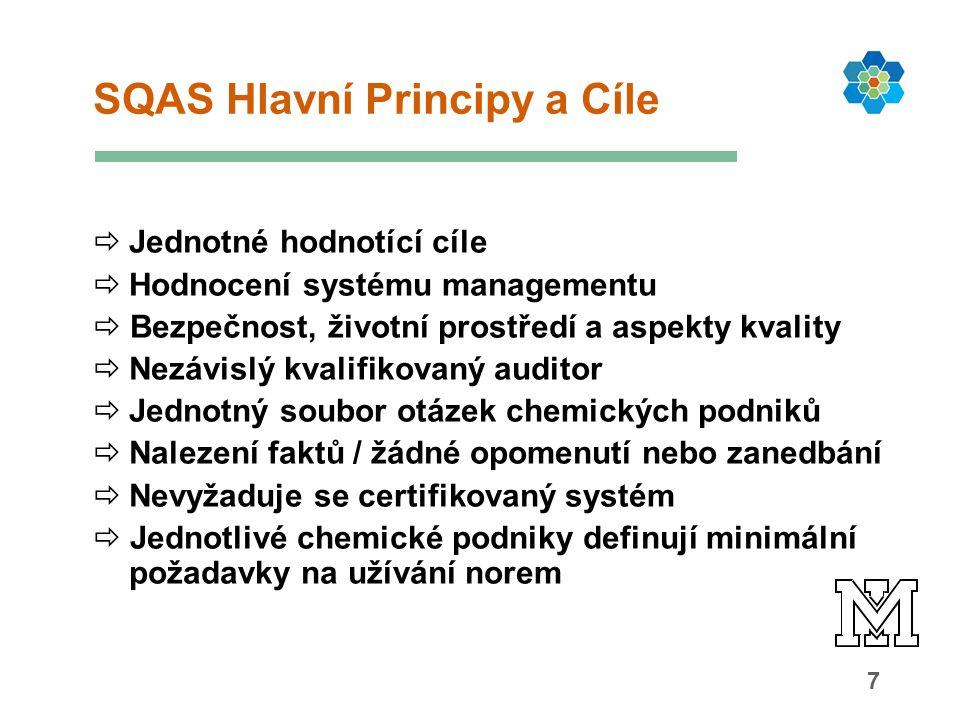 7 SQAS Hlavní Principy a Cíle  Jednotné hodnotící cíle  Hodnocení systému managementu  Bezpečnost, životní prostředí a aspekty kvality  Nezávislý kvalifikovaný auditor  Jednotný soubor otázek chemických podniků  Nalezení faktů / žádné opomenutí nebo zanedbání  Nevyžaduje se certifikovaný systém  Jednotlivé chemické podniky definují minimální požadavky na užívání norem