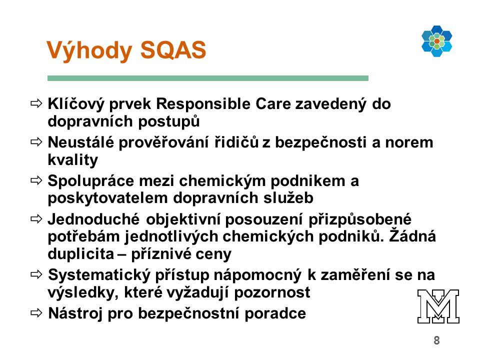 8 Výhody SQAS  Klíčový prvek Responsible Care zavedený do dopravních postupů  Neustálé prověřování řidičů z bezpečnosti a norem kvality  Spolupráce mezi chemickým podnikem a poskytovatelem dopravních služeb  Jednoduché objektivní posouzení přizpůsobené potřebám jednotlivých chemických podniků.