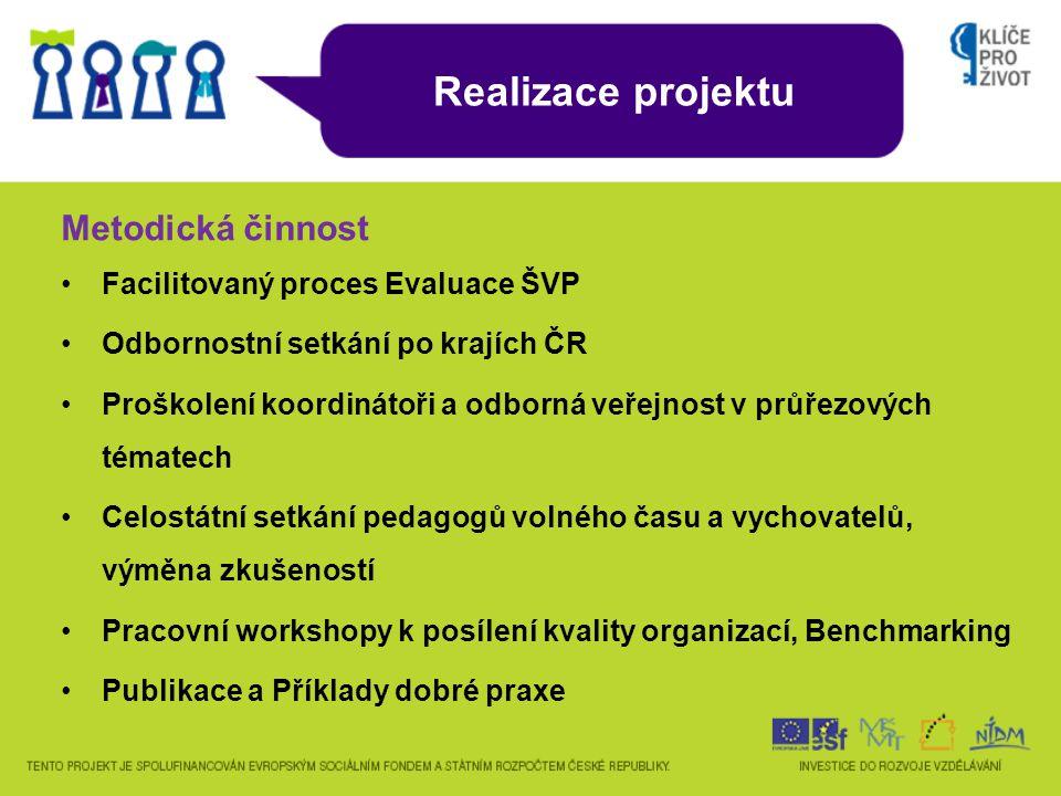 Realizace projektu Facilitovaný proces Evaluace ŠVP Odbornostní setkání po krajích ČR Proškolení koordinátoři a odborná veřejnost v průřezových tématech Celostátní setkání pedagogů volného času a vychovatelů, výměna zkušeností Pracovní workshopy k posílení kvality organizací, Benchmarking Publikace a Příklady dobré praxe Metodická činnost