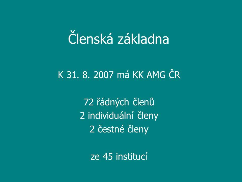 Členská základna K 31. 8. 2007 má KK AMG ČR 72 řádných členů 2 individuální členy 2 čestné členy ze 45 institucí