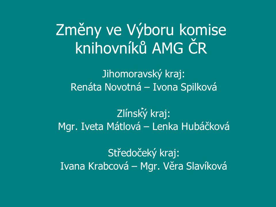 Změny ve Výboru komise knihovníků AMG ČR Jihomoravský kraj: Renáta Novotná – Ivona Spilková Zlínský kraj: Mgr.